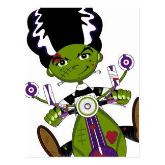 Cartoon Bride of Frankenstein on Scooter Postcard