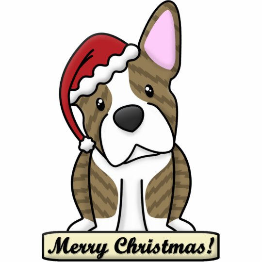 Cartoon Brindle Boston Terrier Christmas Ornament