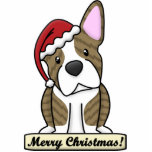 Cartoon Brindle Boston Terrier Christmas Ornament Cut Out