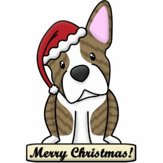 Cartoon Brindle Boston Terrier Christmas Ornament Cut Out