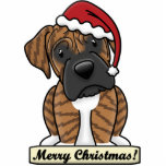 "Cartoon Brindle Boxer Christmas Ornament<br><div class=""desc"">Adorable Brindle Boxer Christmas Ornament featuring the dog breed wearing a red Santa hat. The sign underneath him reads,  &quot;Merry Christmas!&quot; Cute dog lover drawing will look adorable on your Xmas tree! Other coat colors are available.</div>"