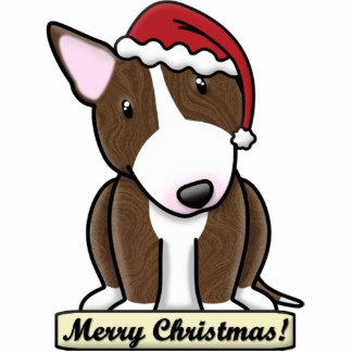 Cartoon Brindle Bull Terrier Christmas Ornament Photo Sculpture Ornament