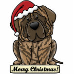 "Cartoon Brindle Mastiff Statuette<br><div class=""desc"">Cute Brindle Mastiff Christmas Ornament features the giant dog breed wearing a red Santa hat. The sign underneath him reads,  &quot;Merry Christmas!&quot; Cute English Mastiff Xmas ornaments for dog owners! This is the brindle coat color.</div>"