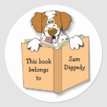 Cartoon Brittany Dog Bookplate Stickers Template
