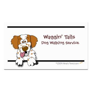 Cartoon Brittany Spaniel Business Card Template