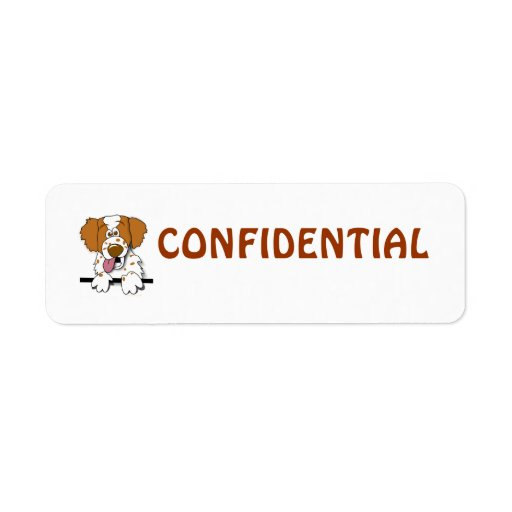 Cartoon Brittany Spaniel Dog Confidential Labels