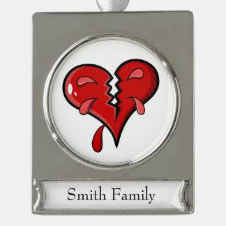 Cartoon Broken Hearted Design Silver Plated Banner Ornament