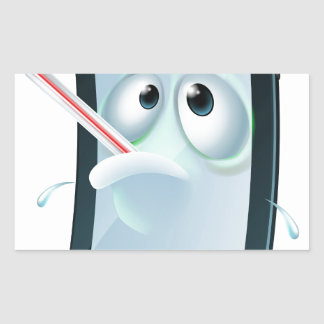 Cartoon broken mobile phone rectangle sticker