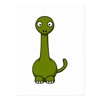 Cartoon brontosaurus postcard