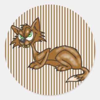 Cartoon Brown Alley Cat Sticker