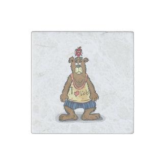 Cartoon Brown bear standing on his back feet Stone Magnet