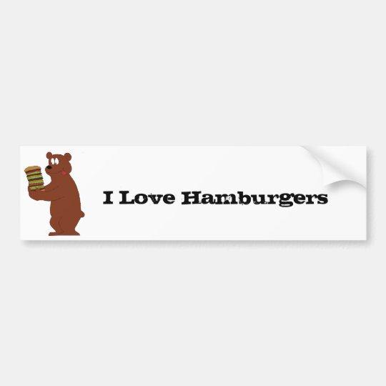 Cartoon Brown Bear With Huge Hamburger Bumper Sticker