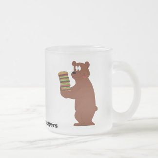 Cartoon Brown Bear With Huge Hamburger Coffee Mug