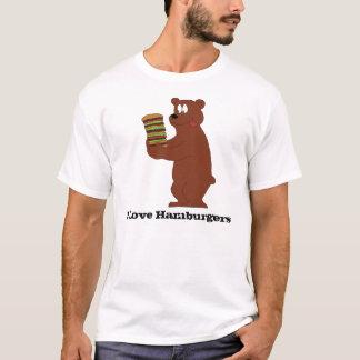 Cartoon Brown Bear With Huge Hamburger T-Shirt