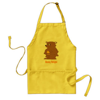 Cartoon Brown Bear With Orange Juice Adult Apron