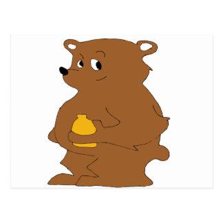 Cartoon Brown Bear With Orange Juice Postcard