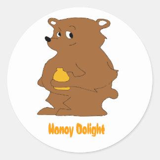 Cartoon Brown Bear With Orange Juice Round Sticker