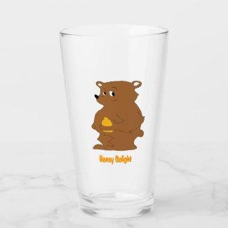 Cartoon Brown Bear With Orange Juice T-Shirt Glass