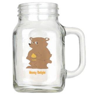 Cartoon Brown Bear With Orange Juice T-Shirt Mason Jar