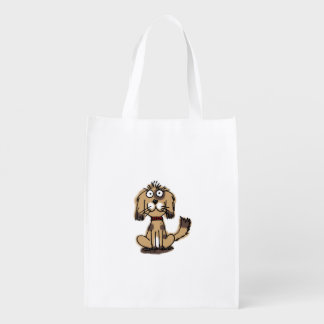 cartoon brown dog reusable grocery bag