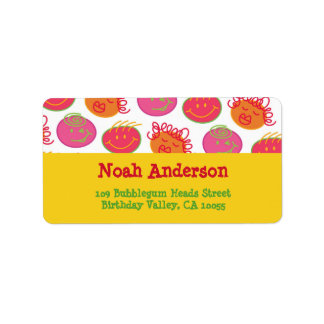 Cartoon Bubblegum Face Children Kids Party Labels
