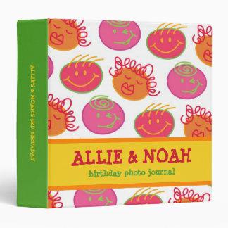 Cartoon Bubblegum Heads Kids Twins Journal Album 3 Ring Binder