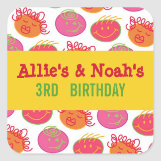 Cartoon Bubblegum Heads Twins Children Party Gift  Square Sticker