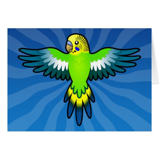 Cartoon Budgie / Parakeet Greeting Cards