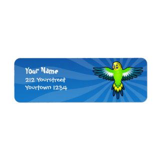 Cartoon Budgie / Parakeet Label