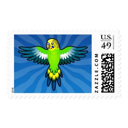 Cartoon Budgie / Parakeet Stamps