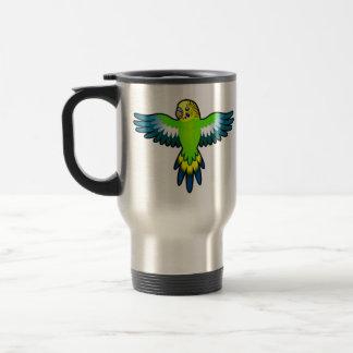 Cartoon Budgie / Parakeet Travel Mug