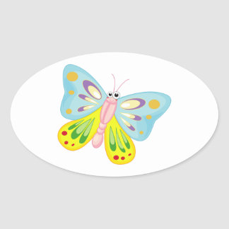 Cartoon Buitterfly Pink and Blue Oval Sticker