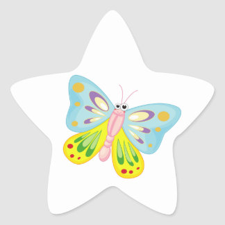 Cartoon Buitterfly Pink and Blue Star Sticker