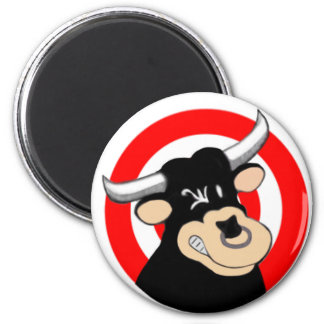 Cartoon Bull BullsEYE 2 Inch Round Magnet