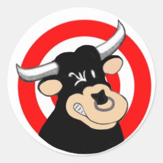 Cartoon Bull BullsEYE Classic Round Sticker