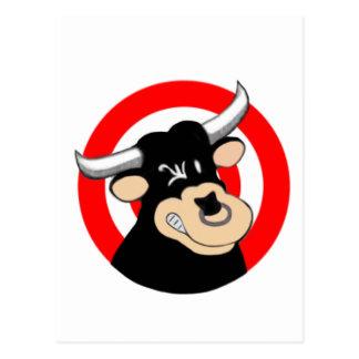 Cartoon Bull BullsEYE Postcard