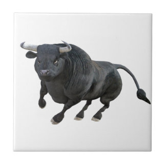 Cartoon Bull Charging and Wheeling to the Left Ceramic Tile