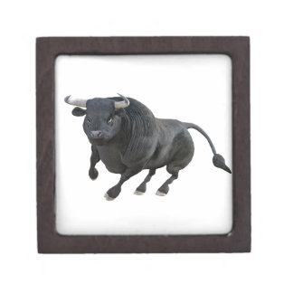 Cartoon Bull Charging and Wheeling to the Left Gift Box