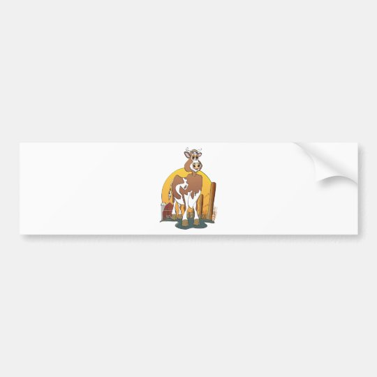 Cartoon Bull Guernsey Barn Bumper Sticker