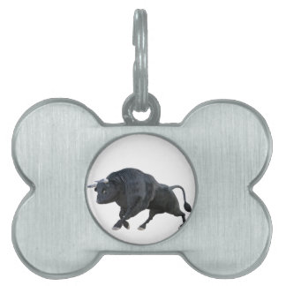 Cartoon Bull in Side Profile with Tail Down Pet Name Tag