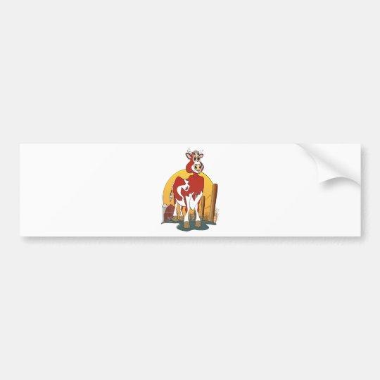 Cartoon Bull Jersey Barn Bumper Sticker
