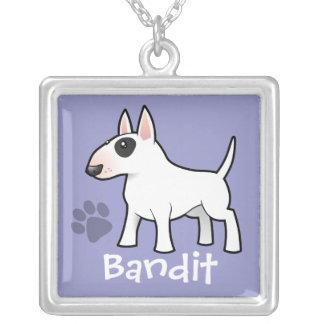 Cartoon Bull Terrier (add your pets name) Square Pendant Necklace