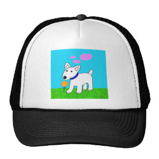 Cartoon Bull Terrier Smelling a Flower Trucker Hat