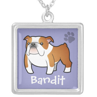 Cartoon Bulldog (add your pets name) Square Pendant Necklace