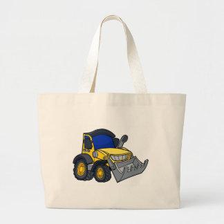 Cartoon Bulldozer Digger Large Tote Bag