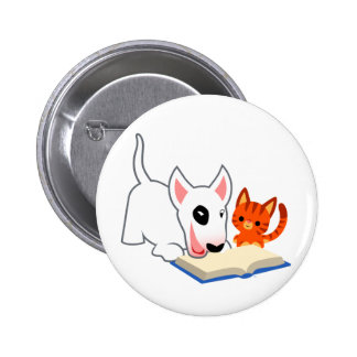 Cartoon Bullie and Kitty with Book Button Badge