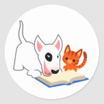 Cartoon Bullie and Kitty with Book Sticker