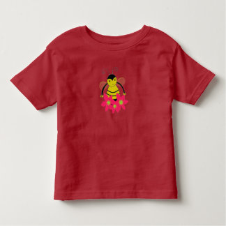 Cartoon Bumble Bee with Flowers Toddler T-shirt
