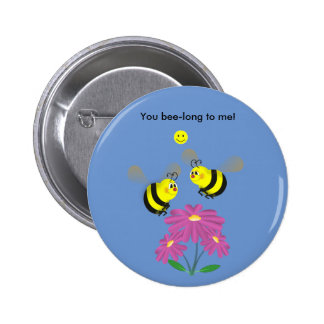 Cartoon Bumble Bees in Love Pinback Button