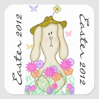 Cartoon Bunny in a Floppy Hat Square Sticker